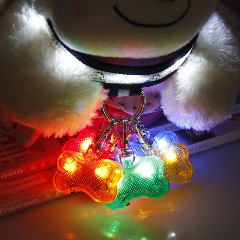 ID Tag Pet Dog Cat Collar LED Identity Pendant Dog Bone Shaped Light Hooked On Flashing Night Light Address Card Marking(China (Mainland))