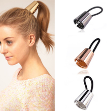 Trendy Women Alloy Horn Hair Cuff Stretch Ponytail Holder Elastic Rope Hairband Casual Hair Wear Accessories