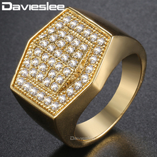 Davieslee Micro Paved CZ Mens Band Ring Hexagon Clear Cubic Zirconia Yellow White Gold Filled GF DGRM06(China)