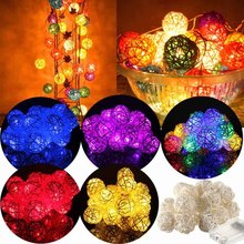 2.2M 20LEDS/Set Rattan Balls String Lights With Battery box FOR Wedding Party Holiday Decoration(China)