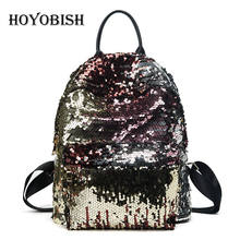 HOYOBISH 2017 Free Shipping Sequined Black Fahion Cool Packbag Solid HIP-HOP Beading Shine PU Leather For Female Unisex(China)