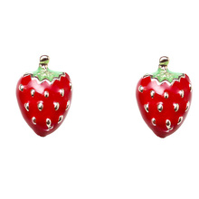 Japanese Girl Fashion Magazines Recommend Small Strawberry  Stud Earrings Women Jewelry 2017