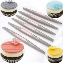 6Pcs/Set Plastic Fondant Cake Modelling Tools Kit Soft Tip Shapers Pen Brush Cupcake Dessert DIY Decorating Tools Bakeware
