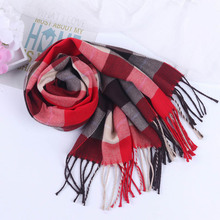 Giraffita Winter Female Wool Plaid Scarf Women Cashmere Scarves Wide Lattices Long Shawl Wrap Blanket Warm Tippet Drop Ship(China)