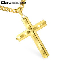Davieslee Mens Chain Curved Cross Pendant Necklace Stainless Steel Curb Cuban Link Black Gold Silver Tone 18-36inch LKPM137(China)