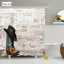 Shower Curtains Bath Curtain Accessories Wild West Rodeo Cowboy Hat Cowgirl Boot Brown Beige Black 180*200 cm