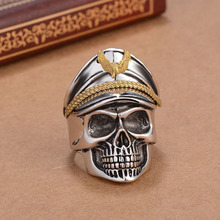 1/Pc Captain Pirate Gold Color Eagle Silver Color Stainless Steel Skull Ring For Men Retro Biker Male Rings  New Arrival Gifts