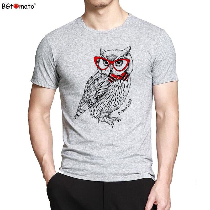 BGtomato T shirt Red glasses owl fashion t-shirt men Cartoon printed summer cool tshirt men Original brand good quality tshirt