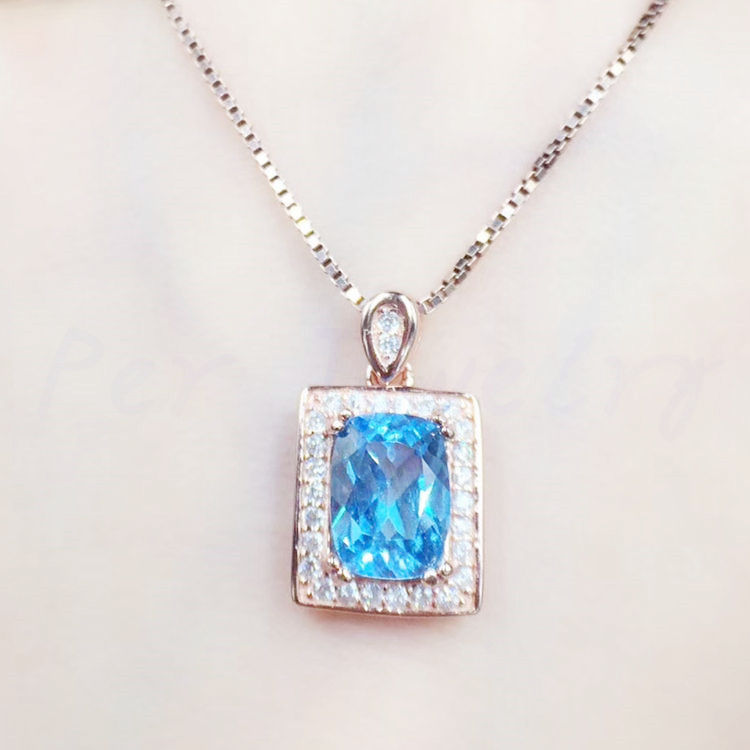 Natural blue topaz necklace pendant Free shipping 2.4ct gemstone 925 sterling silver Free shipping For men or women #GL18080507