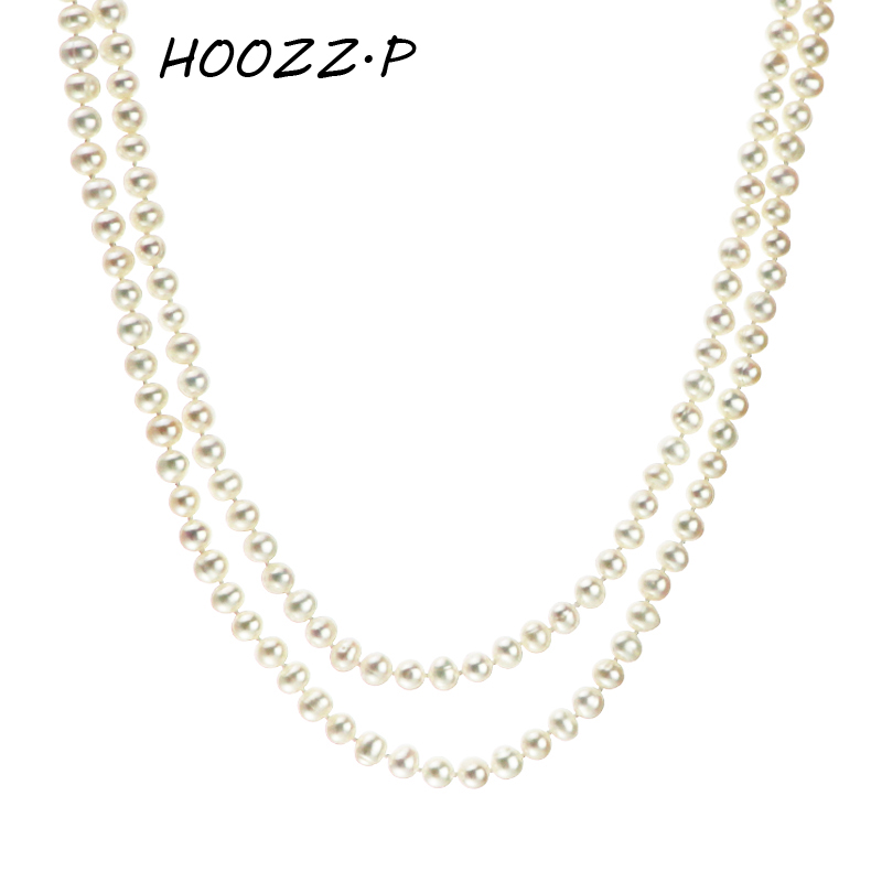 "HOOZZ.P Baroque Pearls Handpicked  White Freshwater Cultured Pearl Rope Necklace 51"" Infinity Strand Long Necklace"