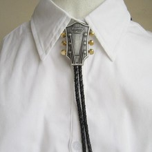 "Men Fashion Bolo Tie Cowboy Male Accessories Black PU Leather Bolo Tie With ""country music"" Guitar Metal Buckle Custom Chain Tie(China)"