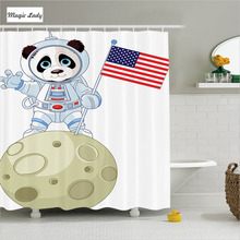 Shower Curtain Bathroom Accessories Animal Panda Astronaut Moon USA Flag Art Moonwalk Red Navy White 180*200 cm