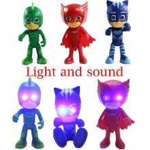 New shelves 18 cm Pj characters cat clown Sound and light Owlette Gekko cloak mask action picture toy boy birthday gift(China)
