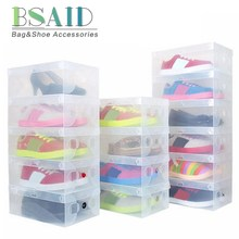 BSAID 20pcs/lot Transparent Shoe Boxes Case Thick Foldable Plastic Shoebox Clamshell Storage Drawer Shoecase Box Containers New(China)
