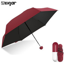4Colors UV Proof Mini Umbrella Compact Umbrella with Capsule Case 5 Folding High Quality Winfproof Strong Umbrellas Rain Gear