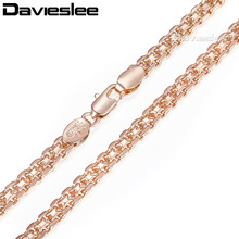 Davieslee Womens Necklace Chain Bismark Hammered 585 Rose Gold Filled Curb Cuban Rombo Link 5mm 50cm LGN453(China)