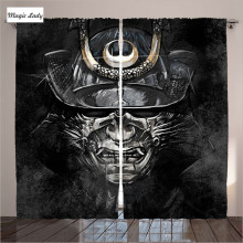 Curtains Japan Samurai Warriors Soldier Oriental Eastern Japanese Sword Art Mean Mask Living Room Bedroom Black 290x265 cm home