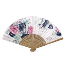 Uxcell Wood Frame Flower Pattern Oriental Summer Dancing Folding Hand Fan White Beige beige | black | blue | fuchsia | pink |