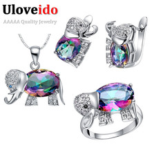 Uloveido Elephant Mystic Rainbow Ring Earrings Necklace Set Silver Jewelry Sets for Women Kids Jewellery for Girls 49%off T485
