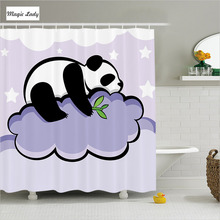 Shower Curtain Bathroom Accessories Cartoom Panda Bear Clouds Night Illustration Lilac Black White 180*200 cm