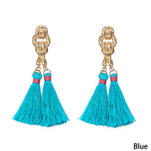 Bohemian Tassel Earrings Hanging Drops For Women Statement Earrings Green Vintage Dangle Earring Jewelry 8 Colors(China)