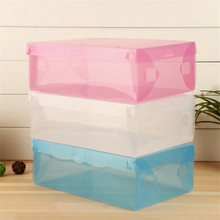 1Pcs DIY Folding Shoebox Clamshell Shoes Storage Box Transparent Boots Organize Colored Plastic Finishing Box(China)