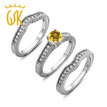 1.24 Ct Round Yellow Citrine 925 Sterling Silver 3 Ring Fitted Set