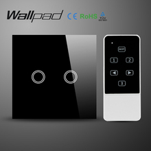 Wallpad UK EU Black Glass Panel Electrical Light Switch with Remote Control, 2 Gang Tactile Wall Switches 2 Way  Free Shiping