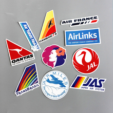 10 Pieces/lot Airline Logo Pvc Decal Sticker Fashion Trunk Luggage Carrier Laptop Brand Handbag Waterproof Stickers Toys(China)