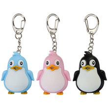1 PCS Cute Mini Penguin LED Light Keychain With Sound Car Keyring Holder Trinket Plastic Doll Women Bag Jewelry Gift New
