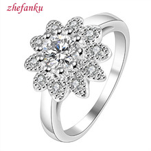 Wholesale Silver Color Flower Plant Beautiful  Fashion Jewelry, Inlaid Stone Sunflower Ring  Quality Control