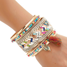 Brand Vintage Ethnic Leaves Tassel Flower Multilayer Cuff Chain Link Bracelet Femme Leather Bracelet Women Jewelry Accessories(China)