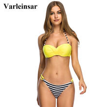 Varleinsar S - 3XL push up bikini Large plus size swimwear women bikini set two pieces swimsuit female bathing suit biquini V396