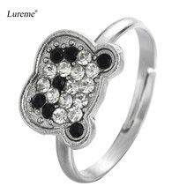 Lureme Lovely Panda Bear Pave Crystal Adjustable Ring for Women and Girls Cute Jewelry Gift Wholesale (rg001871)(China)