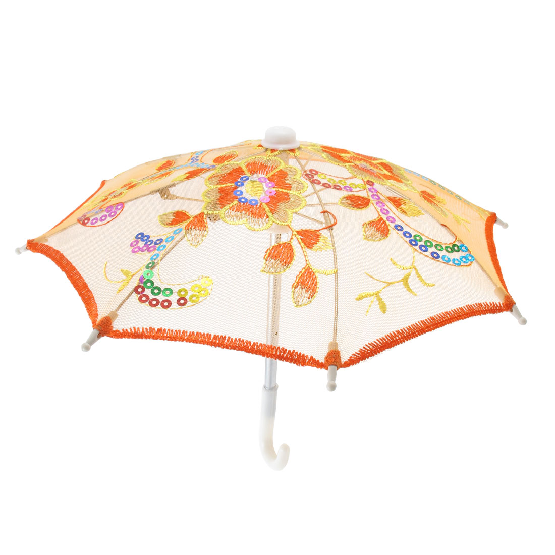 UXCELL Yellow Embroider Flower Pattern Foldable Mini Lace Umbrella Parasol For Child(China (Mainland))