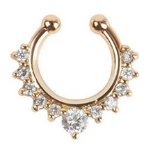 High Quality Titanium Crystal Fake Nose Ring Septum Piercing Hanger Clip On Body Jewelry(China)