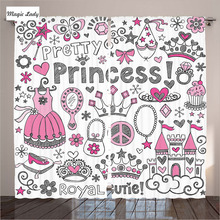 Princess Curtains Girls Room Bedroom Fairy Tale Crown Notebook Doodle Sketch Illustration White Pink 290x265 cm home