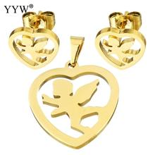 Fashion Stainless Steel Jewelry Sets pendant & earring Angel gold color plated for woman 20x22mm 12mm Sold By Set