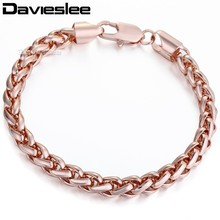 7mm Womens Mens Chain Wheat Rose Gold Filled GF Bracelet Daily Wear Party Wholesale Gift Jewelery Jewellery LGB186(China)