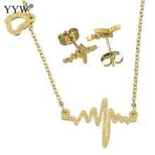 Fashion Stainless Steel Jewelry Sets earring & necklace gold color plated oval chain & for woman Sold By Set