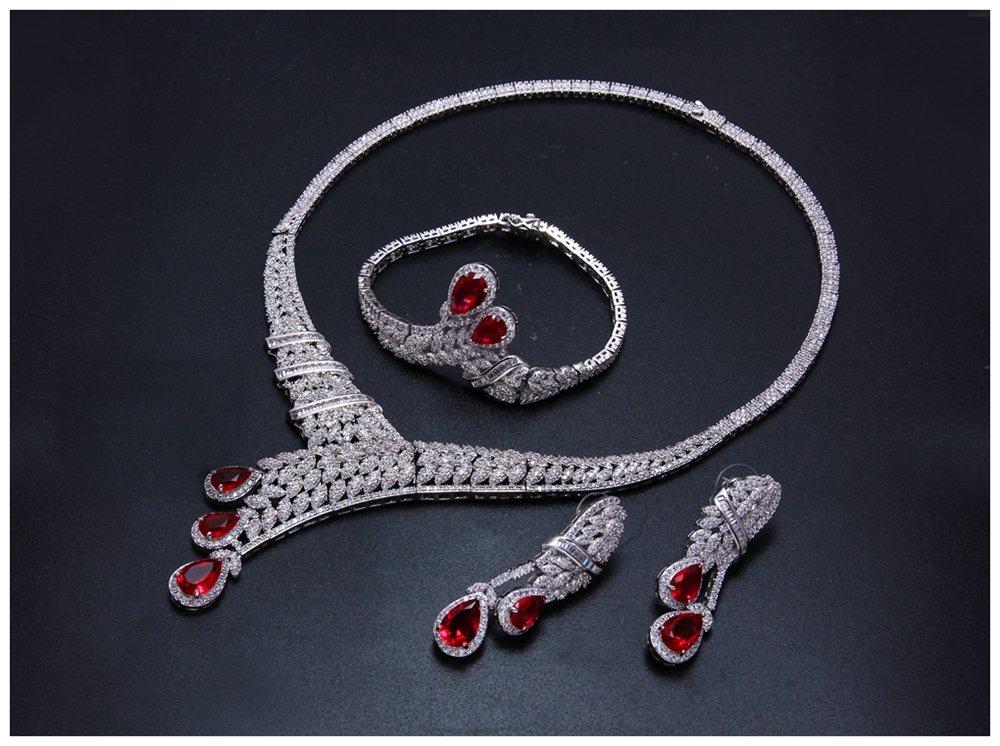 Red drop jewellery set SN04156SI (3)