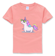 unicorn kids t shirt cotton casual funny kawaii t-shirts children street hip hop cute short sleeve color boy girls clothes mma