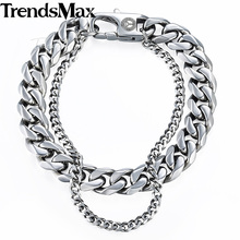 Buy Trendsmax Curb Cuban Box Wheat Link Mens Bracelet Chain Stainless Steel Double Layer Gold Silver Tone KDBM01 for $6.99 in AliExpress store