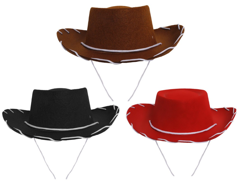 Deluxe Red Felt Cowboy Hat Party Cowboy Western Hat