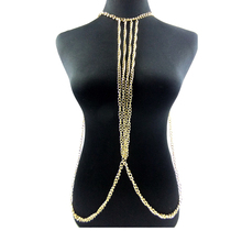 lureme Hot Sexy Simple Multilayer Gold Tassels Body Chain Necklace for Women Beach Jewelry (01004113)