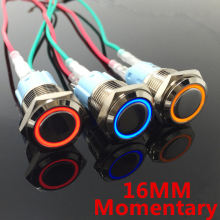 16mm Metal Momentary Push Button Switch LED 5V 12V 24V 110V 220V StainlessLess Steel Waterproof Car Auto Engine PC Power Start