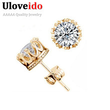 Uloveido Crown Studs Cubic Zirconia Earrings Fashion Stud Earrings for Men Women Jewelry Gold Color Male Earring 49% off Y048