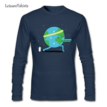 Global Warming Up Adult T Shirt Cool Customized Loose Tops Men Long Sleeve 100% Cotton Tee Teenage New Arrival Simple Tee Shirt(China)