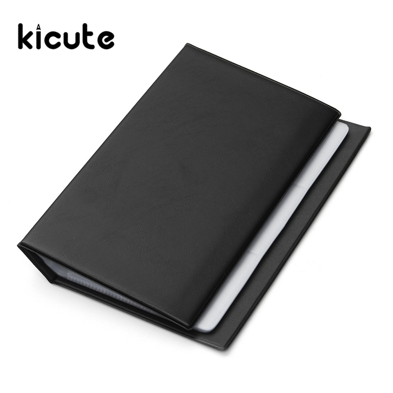 Kicute 1pcs 300Cards High Credit Card Holder Leather Buckle Large Capacity Business ID Holders Organizer Workers