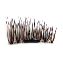 Imported Fiber Bare Makeup 1 pair 3D Magnetic False Eyelashes Handmade Natural Long Magnet Eyelashes Cross Thick Eye Lashes(China)